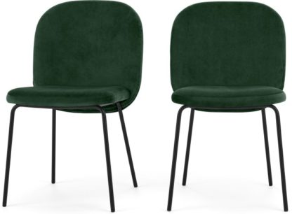 An Image of Set of 2 Safia Dining Chairs, Pine Green Velvet