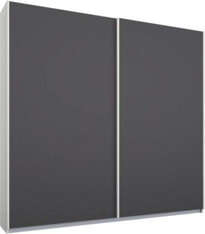 An Image of Malix 2 door 181cm Sliding Wardrobe, White frame,Matt Graphite Grey doors, Standard Interior