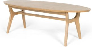 An Image of Jenson Oval Coffee Table, Solid Oak