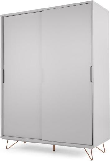 An Image of Elona Sliding Wardrobe, Grey & Copper