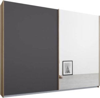 An Image of Malix 2 door 225cm Sliding Wardrobe, Oak frame,Matt Graphite Grey & Mirror doors, Standard Interior