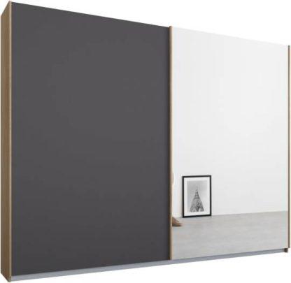 An Image of Malix 2 door 225cm Sliding Wardrobe, Oak frame,Matt Graphite Grey & Mirror doors, Standard Interior