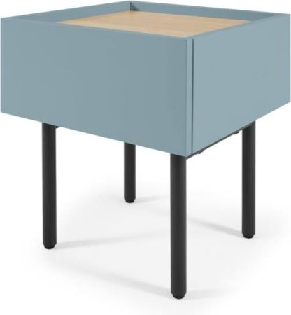 An Image of MADE Essentials Mino Bedside Table, Teal & Oak