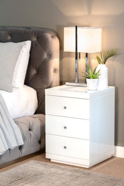An Image of Pair of Pimlico White Glass Bedside Table with 3 Drawers