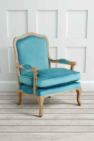 An Image of Le Brun - French Oak Teal Occasional Armchair