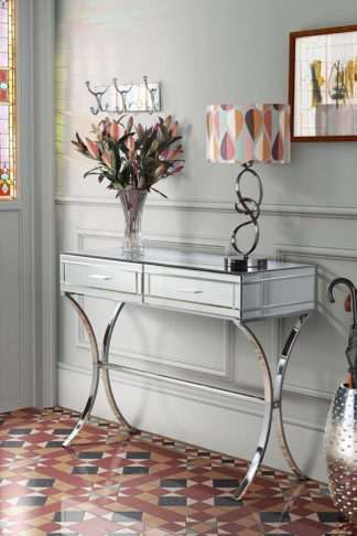 An Image of Aurelia Mirrored & Chrome Dressing Console