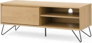 An Image of Cerian Wide TV Stand, Oak and Black