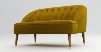 An Image of Custom MADE Margot 2 Seater Sofa, Antique Gold Cotton Velvet with Light Wood Brass Leg