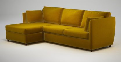 An Image of Custom MADE Milner Left Hand Facing Corner Storage Sofa Bed with Foam Mattress, Saffron Yellow Velvet