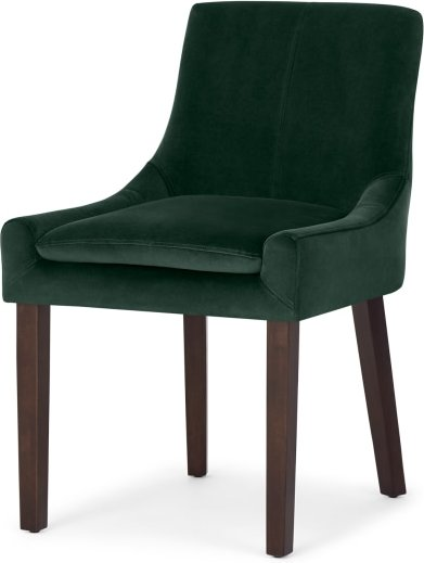 An Image of Percy Scoop Back Chair, Pine Green Velvet and Dark Stain