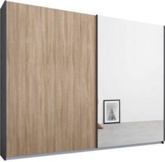 An Image of Malix 2 door 225cm Sliding Wardrobe, Graphite Grey frame,Oak & Mirror doors , Classic Interior