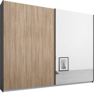 An Image of Malix 2 door 225cm Sliding Wardrobe, Graphite Grey frame,Oak & Mirror doors , Premium Interior