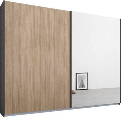 An Image of Malix 2 door 225cm Sliding Wardrobe, Graphite Grey frame,Oak & Mirror doors, Standard Interior