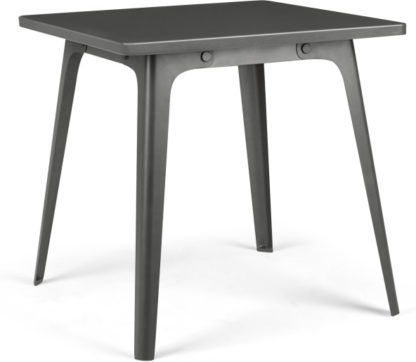An Image of Edny 4 Seat Square Compact Metal Dining Table, Grey