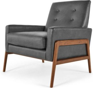An Image of Cecil Armchair, Oxford Grey Premium Leather