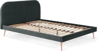 An Image of Eulia Double Bed, Midnight Grey Velvet