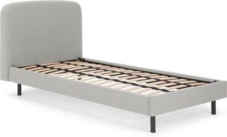 An Image of MADE Essentials Besley Single Bed, Hail Grey