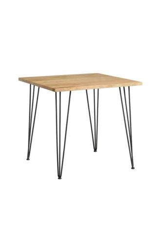 An Image of Felix Industrial Cafe Table - Solid oak and steel