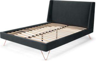 An Image of Elona Double Bed, Midnight Grey Velvet & Copper Legs