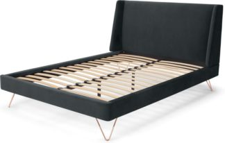 An Image of Elona King Size Bed, Midnight Grey Velvet & Copper Legs