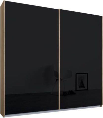 An Image of Malix 2 door 181cm Sliding Wardrobe, Oak frame,Basalt Grey Glass doors, Standard Interior