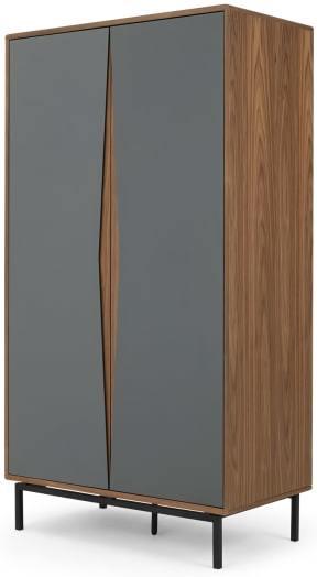 An Image of Louis Wardrobe, Walnut & Grey