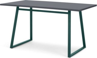 An Image of Catfield 6 Seat Rectangular Dining Kitchen Table, Green and Grey