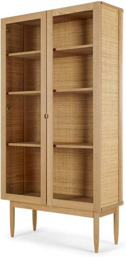 An Image of Liana Glass Woven Cabinet, Ash and Rattan
