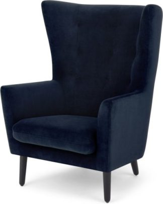 An Image of Dolton Accent Armchair, Ink Blue Velvet