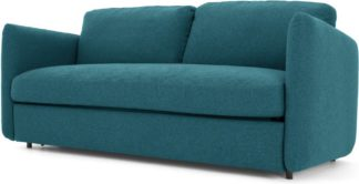 An Image of Fletcher 3 Seater Sofabed with Memory Foam Mattress, Mineral Blue
