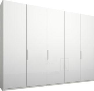 An Image of Caren 5 door 250cm Hinged Wardrobe, White Frame, White Glass Doors, Premium Interior