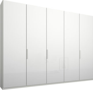 An Image of Caren 5 door 250cm Hinged Wardrobe, White Frame, White Glass Doors, Standard Interior