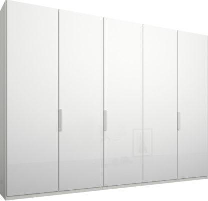 An Image of Caren 5 door 250cm Hinged Wardrobe, White Frame, White Glass Doors, Standard Interior