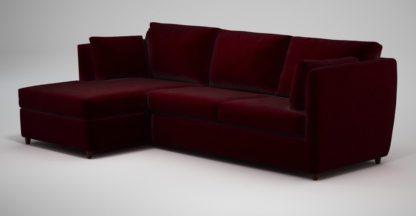 An Image of Custom MADE Milner Left Hand Facing Corner Storage Sofa Bed with Memory Foam Mattress, Shiraz Burgundy Velvet