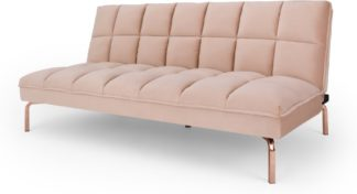 An Image of Hallie Sofa Bed, Pastel Pink Velvet with Copper Legs