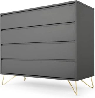 An Image of Elona Chest Of Drawers, Charcoal and Brass