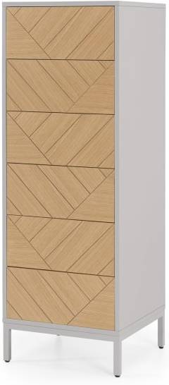 An Image of Mera Tall Chest of Drawers , Oak & Grey