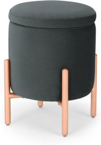 An Image of Asare Round Storage Stool, Midnight Grey Velvet