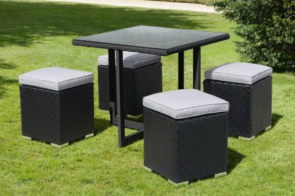 An Image of Cubo Black and Taupe Dining Set