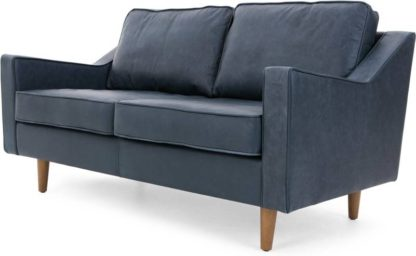 An Image of Dallas 2 Seater Sofa, Charm Midnight Premium Leather
