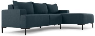 An Image of MADE Essentials Oskar 3 Seater Right Hand Facing Compact Corner Chaise End Sofa, Aegean Blue