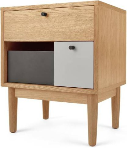 An Image of Campton Bedside Table, Oak and Grey