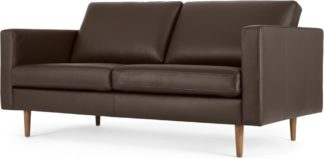 An Image of Leighton Large 2 Seater Sofa, Dark Brown Leather