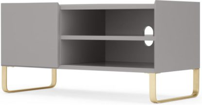An Image of Lenny Painted TV Stand, Grey and Brass