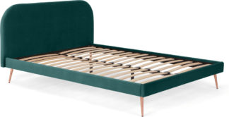 An Image of Eulia Double Bed, Seafoam Blue Velvet
