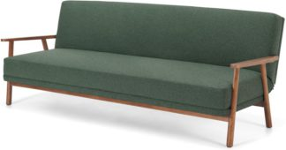 An Image of Lars Click Clack Sofa Bed, Darby Green and Walnut Stain