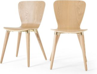 An Image of Set of 2 Edelweiss Dining Chairs, Ash and Brass