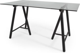 An Image of Philly Desk, Black and Smoked Glass