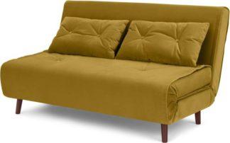 An Image of Haru Large Double Sofa Bed, Vintage Gold Velvet