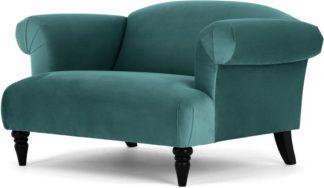 An Image of Claudia Loveseat, Peacock Blue Velvet